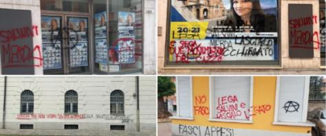 scritte imbrattano la sede della Lega di Voghera fonte Twitter di Matteo Salvini