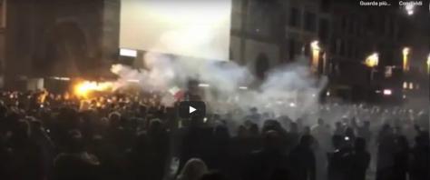 Scontri a Firenze fermate 20 persone frame e video Askanews da Youtube