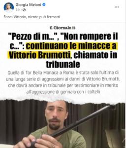 Solidarietà di Giorgia Meloni a Brumotti
