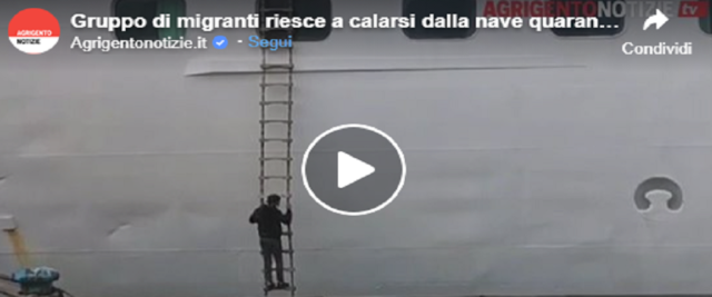 Migranti fuggono dalla scaletta della nave quarantena