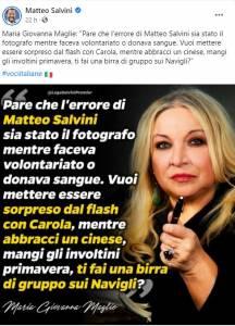Il tweet di Maria Giovanna Maglie postato su Fb da Matteo Salvini