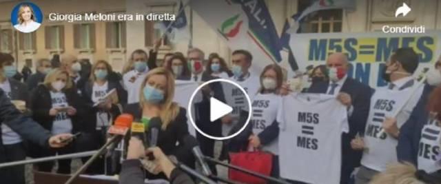 Riforma Mes protesta FdI Meloni