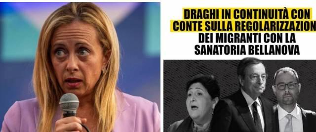 Meloni sanatoria Bellanova Draghi