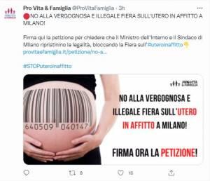 la petizione di Prov vita e famiglia contro la fiera dell'utero in affitto (da Twitter)