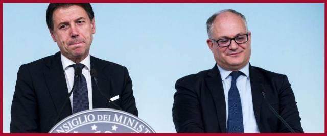 Gualtieri, a sinistra, con Conte