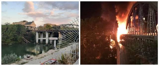 ponte di ferro, incendio